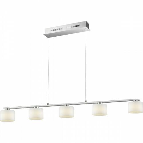 LED Hängelampe - Trion Alignary - 30W - Warmweiß 3000K - 5-flammig - Dimmbar - Rechteckig - Matt Nickel - Aluminium