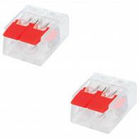 Verbindungsklemmen 2 Stck - 2 Polig mit Klemmen - Rot