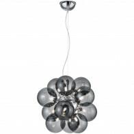 LED Hängelampe - Trion Alionisa - G9 Sockel - 12-flammig - Rund - Chrom Rauchglas - Aluminium