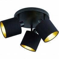 LED Deckenstrahler - Trion Torry - E14 Sockel - 3-flammig - Rund - Mattschwarz - Aluminium/Textil