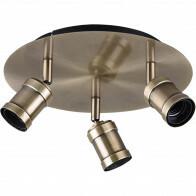LED Deckenstrahler - Trion Korli - E27 Sockel - 3-flammig - Rund - Matt Bronze - Aluminium