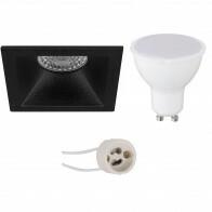 LED Spot Set - Pragmi Pollon Pro - GU10 Sockel - Einbau Quadratisch - Mattschwarz - 6W - Warmweiß 3000K - Deep - 82mm