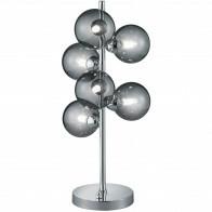 LED Tischlampe - Trion Alionisa - G9 Sockel - 6-flammig - Dimmbar - Rund - Chrom Rauchglas - Aluminium