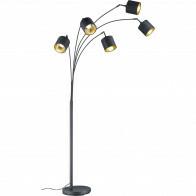 LED Stehleuchte - Trion Torry - E14 Sockel - 5-flammig - Rund - Mattschwarz - Aluminium