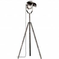 LED Stehleuchte - Trion Kibo - E27 Sockel - 1-flammig - Rund - Antikes Silber - Aluminium
