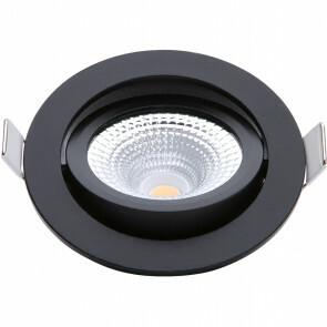 EcoDim - LED Spot - Inbouwspot - ED-10023 - 5W - Waterdicht IP54 - Dimbaar - Dim to Warm - Warm Wit 2000K-3000K - Mat Zwart - Aluminium - Rond - Kantelbaar