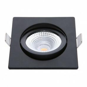 EcoDim - LED Spot - Inbouwspot - ED-10026 - 5W - Waterdicht IP54 - Dimbaar - Dim to Warm - Warm Wit 2000K-3000K - Mat Zwart - Aluminium - Vierkant - Kantelbaar