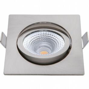 EcoDim - LED Spot - Inbouwspot - ED-10027 - 5W - Waterdicht IP54 - Dimbaar - Dim to Warm - Warm Wit 2000K-3000K - Geborsteld Nikkel - Aluminium - Vierkant - Kantelbaar