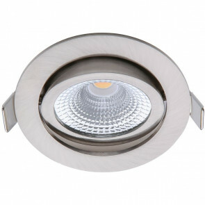 EcoDim - LED Spot - Inbouwspot - ED-10030 - 5W - Waterdicht IP54 - Dimbaar - Warm Wit 2700K - Mat Nikkel - Aluminium - Rond - Kantelbaar