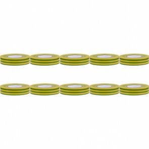 Isolatietape 10 Pack - Yurga - Groen/Geel - 20mmx20m