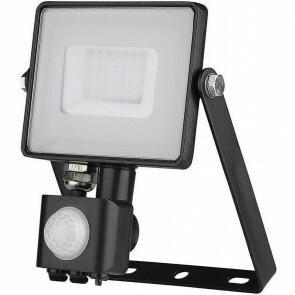 LED Bouwlamp 30 Watt met sensor - LED Schijnwerper - Viron Dana - Helder/Koud Wit 6400K - Spatwaterdicht IP44 - Mat Zwart - Aluminium