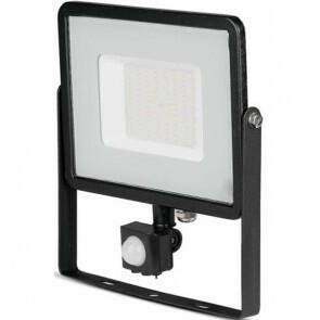 LED Bouwlamp 50 Watt met sensor - LED Schijnwerper - Viron Dana - Warm Wit 3000K - Spatwaterdicht IP44 - Mat Zwart - Aluminium