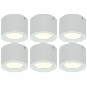 LED Downlight 6 Pack - Opbouw Rond Hoog 5W - Natuurlijk Wit 4200K - Mat Wit Aluminium - Ø105mm
