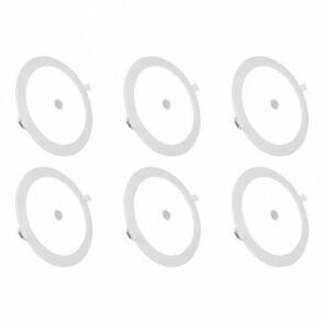 LED Downlight Slim 6 Pack - Aigi - PIR Bewegingssensor 360° - Inbouw Rond 12W - Helder/Koud Wit 6000K - Mat Wit - Ø170mm