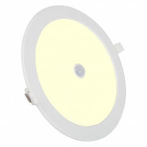 LED Downlight Slim - Aigi - PIR Bewegingssensor - Inbouw Rond 24W - Warm Wit 3000K - Mat Wit Aluminium - Ø240mm