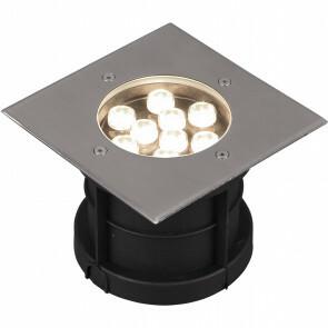 LED Grondspot - Trion Baliyi - Inbouw Vierkant - 9W - Waterdicht IP65 - Warm Wit 3000K - Mat Nikkel - RVS