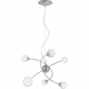 LED Hanglamp WiZ - Trion Dulpio - 18W - Aanpasbare Kleur - 6-lichts - Dimbaar - Rechthoek - Mat Nikkel - Aluminium