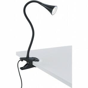 LED Klemlamp - Trion Vipa - 3W - Warm Wit 3000K - Glans Zwart - Kunststof