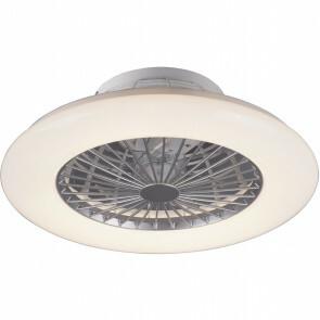LED Plafondlamp met Ventilator - Plafondventilator - Trion Haron - 40W - Rond - Mat Chroom - Kunststof