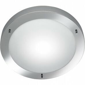 LED Plafondlamp - Trion Condi - Opbouw Rond - Spatwaterdicht IP44 - E27 Fitting - Glans Chroom Aluminium - Ø310mm
