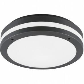 LED Plafondlamp - Trion Keraly - Opbouw Rond - Waterdicht - 12W - Warm Wit 3000K - Mat Zwart - Kunststof