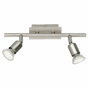 LED Plafondspot - Trion Nonta - GU10 Fitting - 6W - Warm Wit 3000K - 2-lichts - Rechthoek - Mat Nikkel - Aluminium