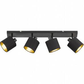 LED Plafondspot - Trion Torry - E14 Fitting - 4-lichts - Rond - Mat Zwart - Aluminium/Textiel