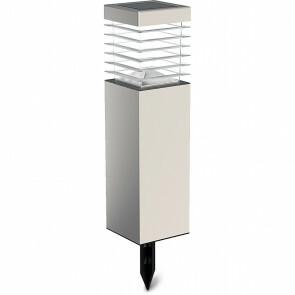 LED Priklamp met Zonne-energie - Aigi Relino - 0.4W - Helder/Koud Wit 6500K - Mat Zilver - Kunststof