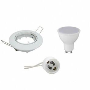 LED Spot Set BSE GU10 Rond Inbouw 6W 3000K Warm Wit Dimbaar Aluminium Glans Wit Armatuur/Frame Kantelbaar 80mm