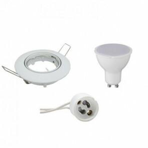 LED Spot Set - GU10 Fitting - Dimbaar - Inbouw Rond - Glans Wit - 6W - Natuurlijk Wit 4200K - Kantelbaar Ø80mm