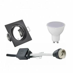 LED Spot Set - GU10 Fitting - Inbouw Vierkant - Mat Zwart - 6W - Helder/Koud Wit 6400K - Kantelbaar 80mm