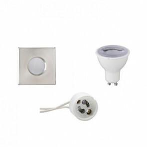 LED Spot Set - GU10 Fitting - Waterdicht IP65 - Dimbaar - Inbouw Vierkant - Mat Chroom - 6W - Natuurlijk Wit 4200K - 82mm