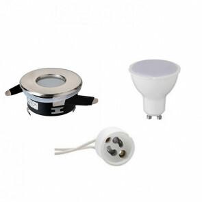 LED Spot Set - GU10 Fitting - Waterdicht IP65 - Inbouw Rond - Mat Chroom - 6W - Warm Wit 3000K - Ø82mm