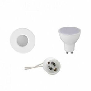 LED Spot Set - GU10 Fitting - Waterdicht IP65 - Inbouw Rond - Mat Wit - 6W - Helder/Koud Wit 6400K - Ø82mm