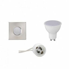 LED Spot Set - GU10 Fitting - Waterdicht IP65 - Inbouw Vierkant - Mat Chroom - 6W - Natuurlijk Wit 4200K - 82mm