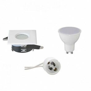 LED Spot Set - GU10 Fitting - Waterdicht IP65 - Inbouw Vierkant - Mat Wit - 6W - Helder/Koud Wit 6400K - 82mm