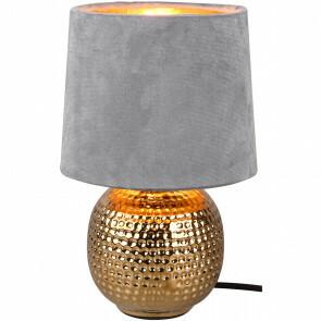 LED Tafellamp - Trion Sofia - E14 Fitting - Rond - Mat Grijs - Keramiek