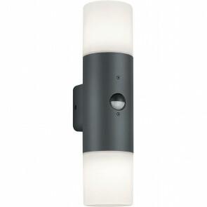 LED Tuinverlichting - Wandlamp - Trion Hosina - Bewegingssensor - E27 Fitting - 2-lichts - Mat Zwart - Aluminium