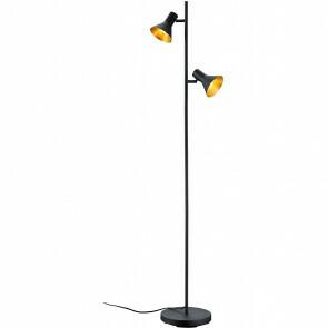 LED Vloerlamp - Trion - E14 Fitting - 2-lichts - Rond - Mat Zwart - Aluminium