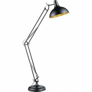LED Vloerlamp - Trion - E27 Fitting - 1-lichts - Verstelbaar - Rond - Mat Zwart - Aluminium