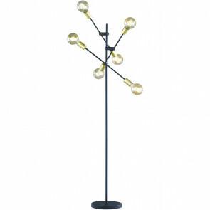 LED Vloerlamp - Trion - E27 Fitting - 6-lichts - Rond - Mat Zwart - Aluminium