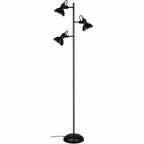 LED Vloerlamp - Trion Gini - E14 Fitting - 3-lichts - Rond - Mat Zwart - Aluminium