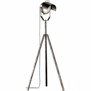 LED Vloerlamp - Trion Kibo - E27 Fitting - 1-lichts - Rond - Antiek Zilver - Aluminium