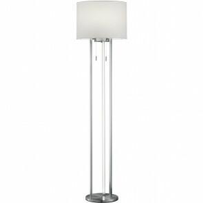 LED Vloerlamp - Trion Tondira - 15W - Warm Wit 3000K - E27 Fitting - 4-lichts - Rond - Mat Nikkel - Aluminium/Textiel
