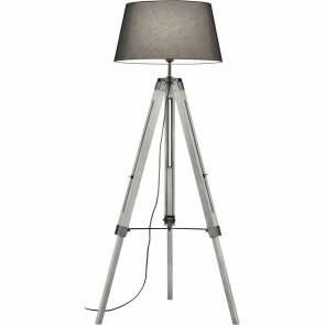 LED Vloerlamp - Trion Tripady - E27 Fitting - Verstelbaar - Rond - Mat Grijs - Hout/Textiel