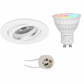 Mi-Light - LED Spot Set GU10 - Smart LED - Wifi LED - Slimme LED - 4W - RGB+CCT - Aanpasbare Kleur - Dimbaar - Pragmi Aerony Pro - Inbouw Rond - Mat Wit - Kantelbaar - Ø82mm