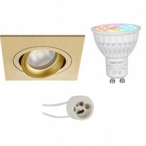 Mi-Light - LED Spot Set GU10 - Smart LED - Wifi LED - Slimme LED - 4W - RGB+CCT - Aanpasbare Kleur - Dimbaar - Pragmi Borny Pro - Inbouw Vierkant - Mat Goud - Kantelbaar - 92mm