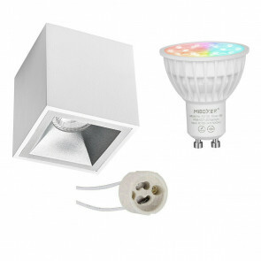 Mi-Light - Opbouwspot Set GU10 - Smart LED - Wifi LED - Slimme LED - 4W - RGB+CCT - Aanpasbare Kleur - Dimbaar - Pragmi Cliron Pro - Opbouw Vierkant - Mat Wit/Zilver - Verdiept - 90mm