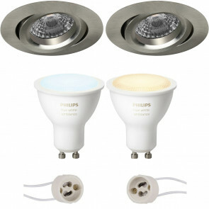 PHILIPS HUE - LED Spot Set GU10 - White Ambiance - Bluetooth - Pragmi Aerony Pro - Inbouw Rond - Mat Nikkel - Kantelbaar - Ø82mm