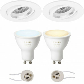 PHILIPS HUE - LED Spot Set GU10 - White Ambiance - Bluetooth - Pragmi Aerony Pro - Inbouw Rond - Mat Wit - Kantelbaar - Ø82mm